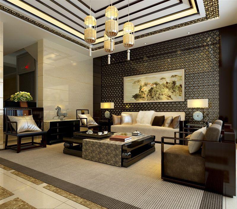 中式别墅 客厅效果图(中式沙发背景)